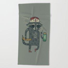 "Raccoon wearing human ""hat"" Beach Towel"