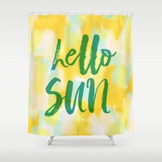 Hello Sun - Sunny yellow abstract Shower Curtain
