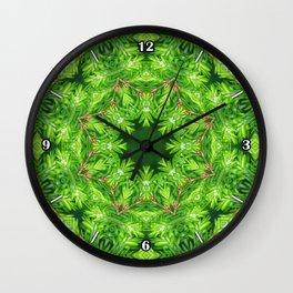 Spring green Canadian Hemlock mandala Wall Clock