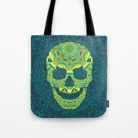 sugar skull Tote Bags featuring Sugar skull by Julia Badeeva