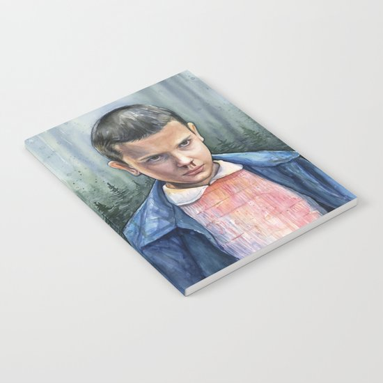 Stranger Things Eleven Watercolor Portrait Art Notebook