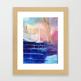 Flourescent Waterfall Painting. Waterfall, Abstract, Blue, Pink. Water. Jodilynpaintings. Framed Art Print