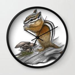 Chipmunk and mushrooms Wall Clock