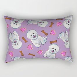 Bichon Frise Love Pattern on Lavender Rectangular Pillow