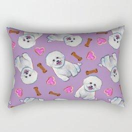 Bichon Frise Love Pattern on Lavender Rectangular Pillow
