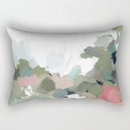 Green Mint Pink Blush Abstract Nature Art Painting Rectangular Pillow