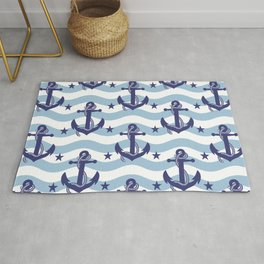 Sailor Stripes and Anchor Pattern Light Blue 10 Rug