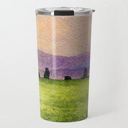 Sunrise at Castlerigg Stone Circle, Keswick, Lake District, Uk. Watercolour Painting Travel Mug