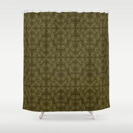 Floral leaf motif running stitch style. Shower Curtain