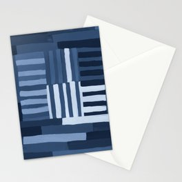 Painted Color Block Grid in Blue Stationery Cards