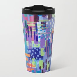 Crazy Rainbow Bright Abstract Art Travel Mug