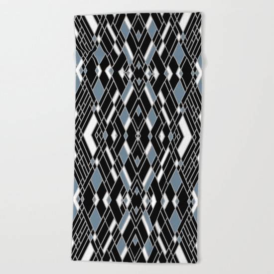 Art Deco Zoom Blue Beach Towel