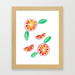 Fresh and Jucy Orange Watercolor Framed Art Print