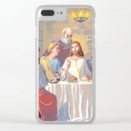 Alien Jesus Clear iPhone Case
