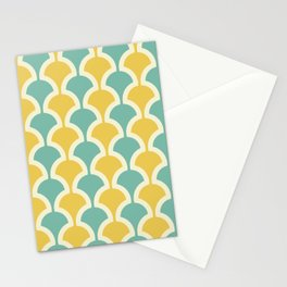 Classic Fan or Scallop Pattern 432 Turquoise and Yellow Stationery Cards