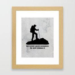 Albert Camus - You Cannot Create Experience Framed Art Print
