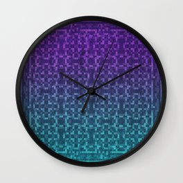 Pixel Patterns Green/Purple Wall Clock