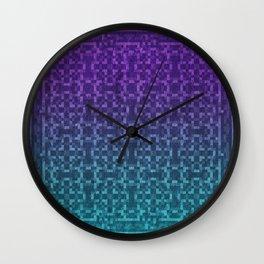 Pixel Patterns Green/Purple Wall Clock