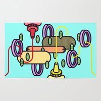 hot dog Area & Throw Rugs featuring Hot dog by Jan Luzar