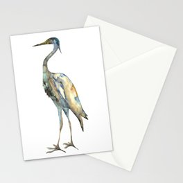 Crane #2 - Bird Ink Painting in subdued blue Stationery Cards