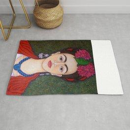 Frida portrait with dalias Rug