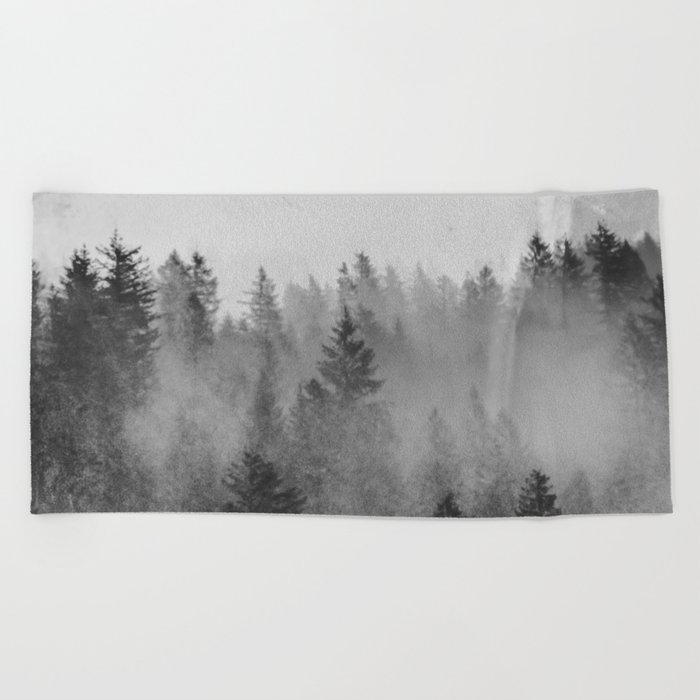 Black and White Forest Abstract Beach Towel