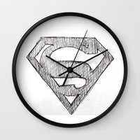 superman Wall Clocks featuring Superman by Frances Roughton