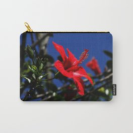 red hibiscus on dack blue Carry-All Pouch