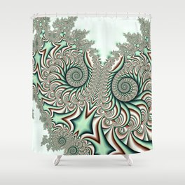 Owl Fractal Chocolate Mint Shower Curtain