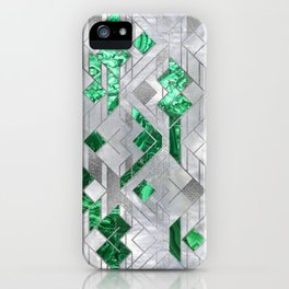 Abstract Geometric Malachite and Mother of pearl iPhone Case