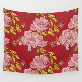 Peonies on Red Wall Tapestry
