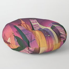 Midnight in New York Kitschy Watercolor in Mid Century Style Floor Pillow