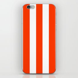 Coquelicot orange - solid color - white vertical lines pattern iPhone Skin