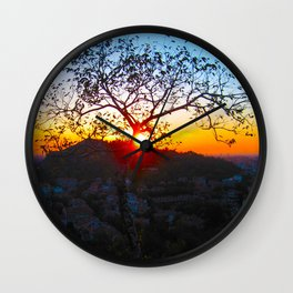 SUNSET OVER THE HILL Wall Clock