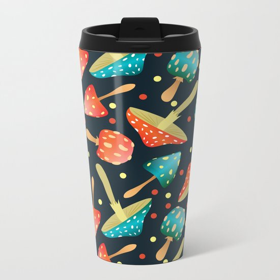 Bright mushrooms Metal Travel Mug