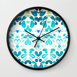 Memories of Summer, Bright Sea Blue and Yellow Wall Clock