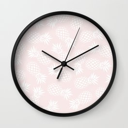 Pineapple pattern on pink 022 Wall Clock
