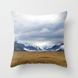 The Home of the Long White Cloud on the Road to Milford Sound Throw Pillow