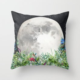 Night Garden Moon Magick Throw Pillow