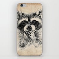 rocket raccoon iPhone & iPod Skins featuring Surprised raccoon by Anna Shell