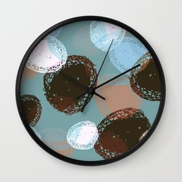 Graphic Seed Pods Turquoise and Brown Wall Clock