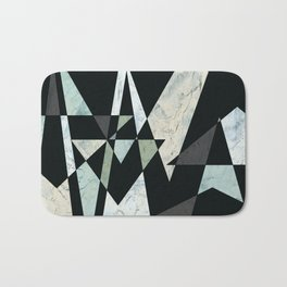Deep Blue and Gray Triangle Geometric Design Bath Mat