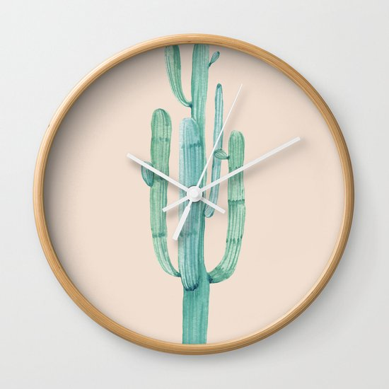 Solo Cactus Mint On Coral Pink Wall Clock By Nature Magick