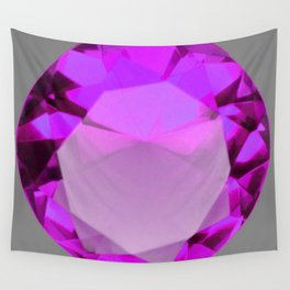 Decorative PURPLE FEBRUARY AMETHYST GEMSTONE  ON GREY Wall Tapestry