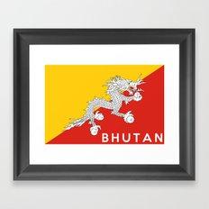 Bhutan country flag name text Framed Art Print