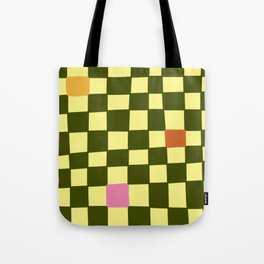Green and Pink Imperfect Checkerboard Tote Bag