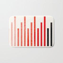 Vermilion Watercolor Gouache Minimalist Modern Stripes Geometric Line Pattern Bath Mat