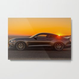 Muscle Car Sunset Metal Print