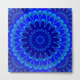 Summer Mandala Full Bloom Celebration in Vibrant Blue Metal Print