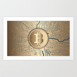 Bitcoin money gold Art Print
